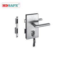 Stainless steel glass door locks with double lever handles
