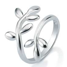 Fashion jewelry factory alibaba hot 925 sterling silver plated adjustable open leaf shaped ring