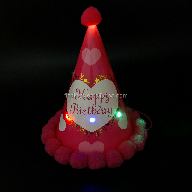 manufatures selling new colored LED light up blinking birthday hat pompon ball /princess party cap