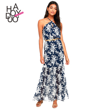 HAODUOYI Fashion Maxi <strong>Dress</strong> Women Sleeveless Off Shoulder Female Strap <strong>Dress</strong> Sweet Style Ladies Floral Print <strong>Dress</strong> for Wholesale