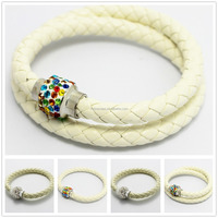 Crystal Ball Charm Braid Leather Woven Vintage Alloy Beige Buckle Mens LOVE Handmade Faux Bracelets For Men Jewellry pulseira