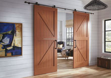 British Brace Double V-Groove Orange Alder Wood Sliding barn door hardware double track