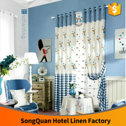 New latest volour linen towel embroidery kid window curtain