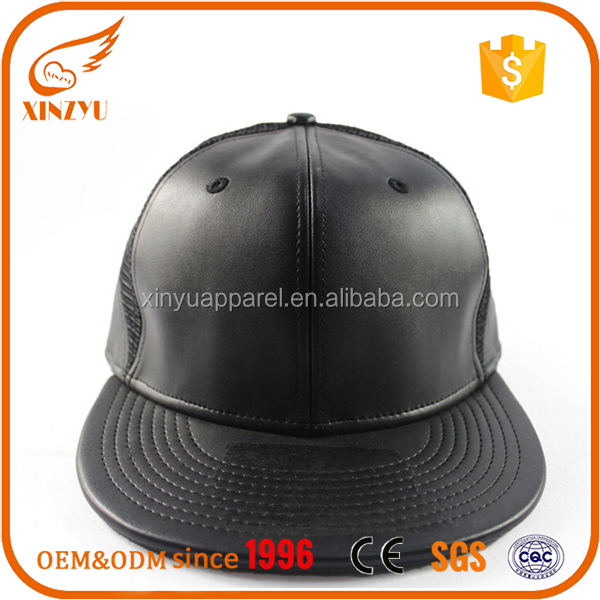 Plain Flat Bill Mesh Caps Blank Leather Snapback Hats with Mesh Back