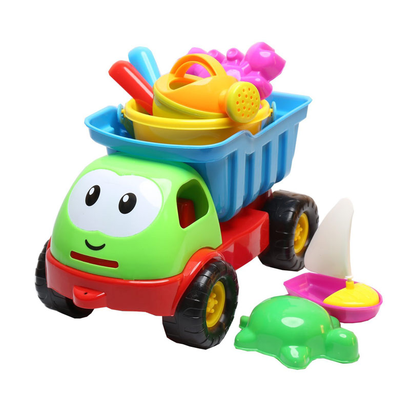 Mini cheap hot wholesale plastic pool toy set&sand toy truck for children
