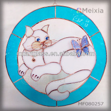 MF080257 wholesale tiffany style animal stained glass wall decor window hanging panel for home decoration items
