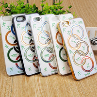 2016 New Arrival Olympic Rings Liquid Phone Case Electroplate Hard Phone Cover For iPhone 6