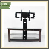 3 tier black glass tv stands lcd stand manual lifting mechanism RM012