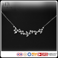 18K White Gold Genuine Diamond Chain Necklace Jewelry Design For Girls Women