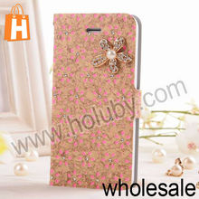 Sparkle Rhinestone Flower Inlaid Magnetic Flip Leather+PC Protective Case for iPhone 4/4S