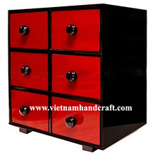 Eco-friendly hand finished vietnamese 6 drawer black & red lacquered bamboo bar furniture