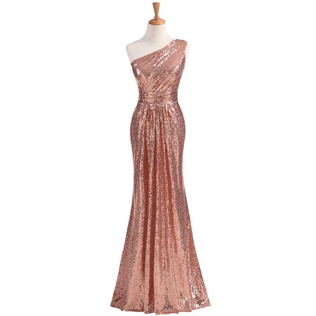 2017 Vestido De Festa De Casamento One-shoulder Women Sparkly Long Sequins Mint Green Bridesmaid Dresses