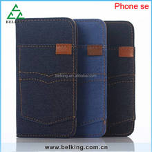For iPhone 5 card slot Jeans leather wallet for iPhone 5 SE Pocket case
