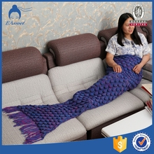 children multicolor custom pattern knitting crochet mermaid tail throw towel blanket sleeping bag with fish scale