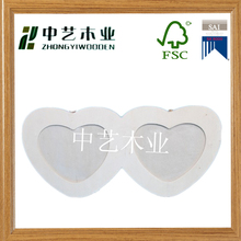 Customized handmade white heart shape love wooden photo pictures frames