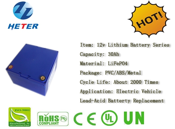 Golf Vehicle; Electric Vehicle; Lead-acid Battery Replacement. Rechargeable Lifepo4 / Li-ion Battery Pack; 12v30Ah