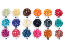 18 Colors nail art decorations Powder Crushed Sea Shell glitter Tips