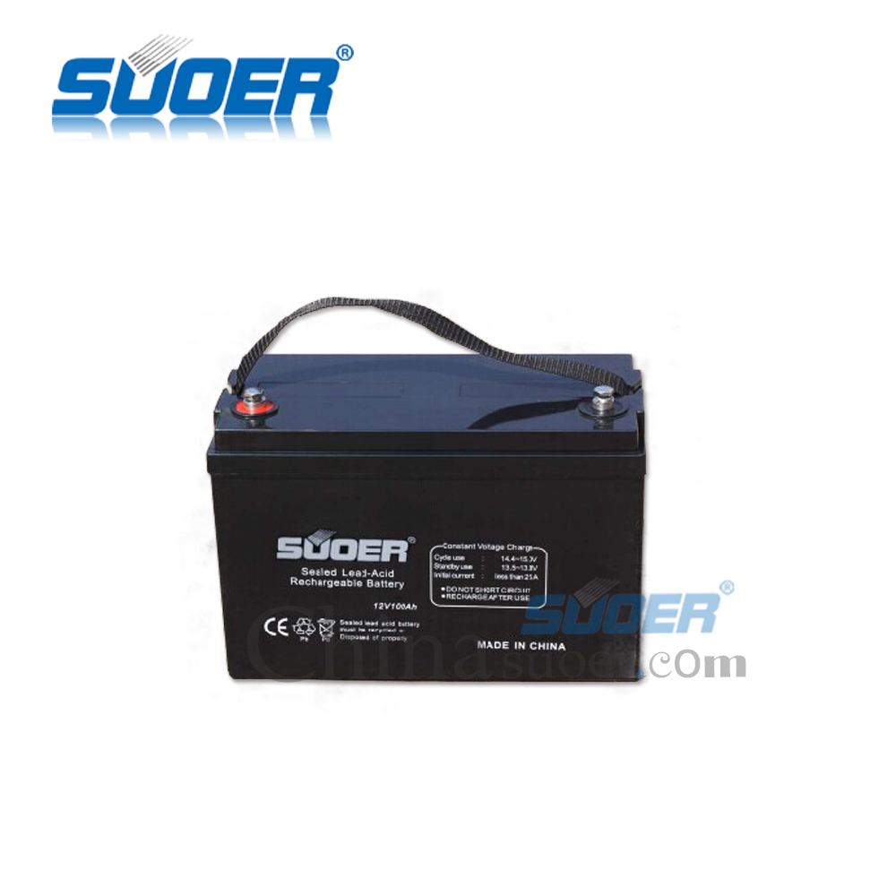 Suoer Sealed Lead-Acid Rechargeable Battery 12V 100AH Storage Battery