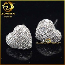 micro pave zirconia heart mand made diamond earrings