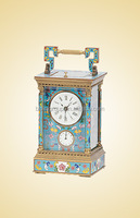 Antique Alarm Cloisonne Enamel Clocks, Retro Mechanical Carriage Metal Clock