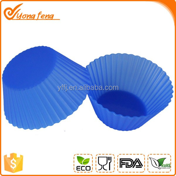 blue color silicone round cake cup pop mould for baking