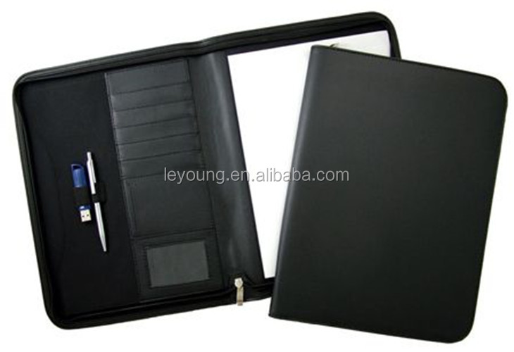 Zipper Closure Leather Conference Holder, File Folder with Writing Pad