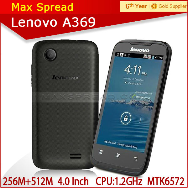 "4"" Lenovo A369 Dual Core Android2.3 Phone 3G WCDMA Dual Sim Cards Phone mobile phone 100% original"