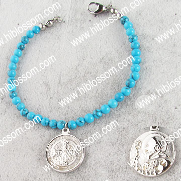 two face saint benedict charm wholesale stainless steel turquoise bracelet