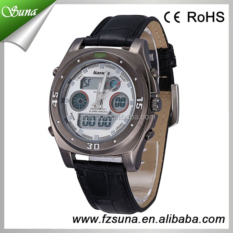 New Product Leather Fashion Alarm Chronograph Led Light Electronic Watches Men