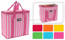 Top Quality reusable portable non woven keep foods & fruits fresh lunch picnic insulated lining tote hand stripe cooler bag