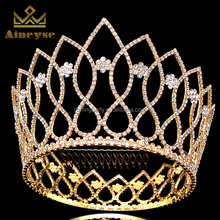 Elegant Crystal Full Round Tall Pageant Crown Tiaras for Sale