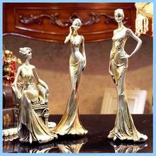 Resin European Girl Standing Touch the Face Figure Ornaments, Resin Girl Standing on the Waist and Sit Down Figurines