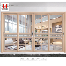 Chinese New Design Sound Insulation Aluminum wood grain lift & Sliding Door with Invisible Flyscreen
