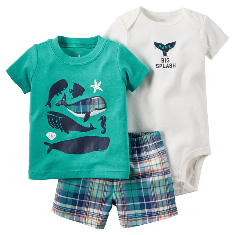2016 Brand 100% Cotton Baby Boy Outfits 3Pcs Set for Romper Thsirt and Short Pants