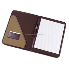 Factory custome A4 leather folder genuine leather portfolio with notepad