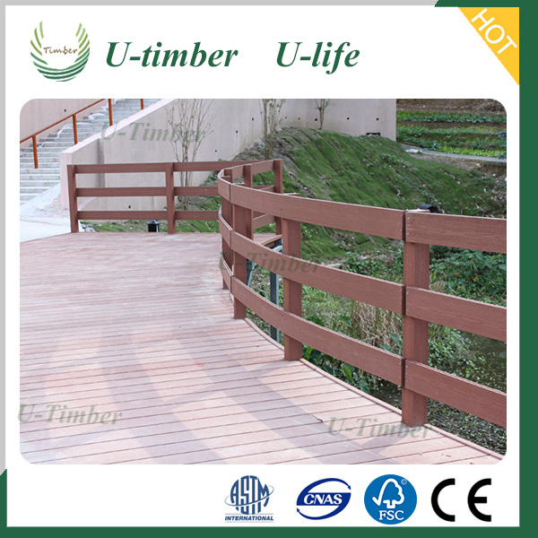 Outdoor Wood Plastic Composite stair railing cladding wpc