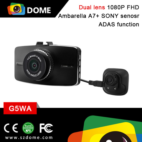Ambarella A7 2 Channel FullHD 1080P dual auto 2 camera recorder car dvr G5WA