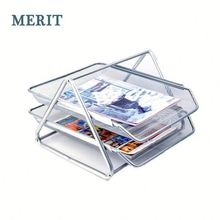 Office Metal Mesh Wire Desk Organizer Document Stacking File Tray