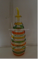 Hand Drawing Colored Glass Oil bottles with Lids