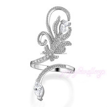 Wholesale top latest design trendy adjustable fake 18k snake ring