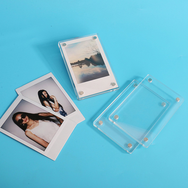 Mini Magnetic Double Sided Clear Acrylic Photo Frame Perspex Poster Holder