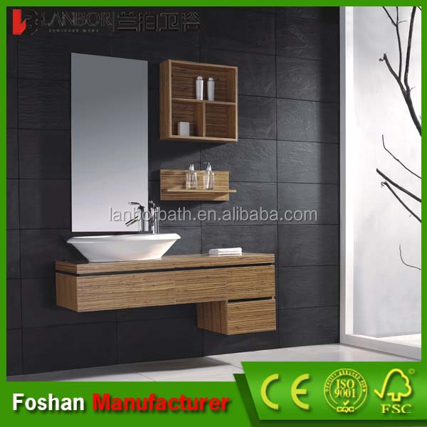 Hot sale European style floating zebra veneer bathroom <strong>cabinets</strong> NT012