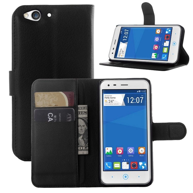 Ultra Slim Litchi PU Leather Wallet Card Holder Cover Case for ZTE Blade S6