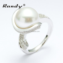 Fashion Silver Jewelry,Shell Pearl With AAA Stone Ring Jewellery