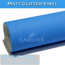 1.52m*30m Air Free Light Blue Matt Glitter Adhesive Sports Car Decoration Sticker