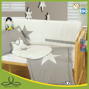 grey fabric with white concise star printing baby boy bedding crib sets