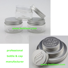 30g 1 oz empty PET plastic jars aluminum silver lids clear pots cosmetic container