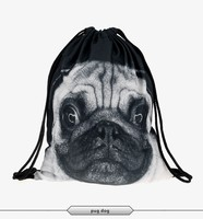 2016 Fashion summer backpack drawstring bag pug dog digital print sewing No raw edges tote tutorial with travel stuff
