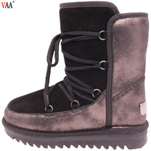 CF-243 Free Samples Unisex Lace Up Genuine Leather Middle Winter Ladies Boots Shoes,Middle Winter Women Boots Shoes