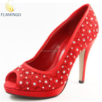 Women Colorful diamond High heel evenning shoes Platform open toe Red satin lace wedding shoes